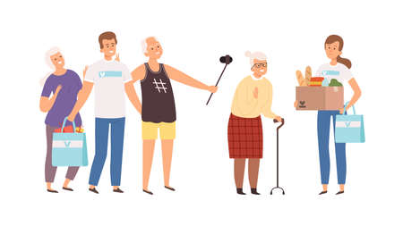 Volunteers in senior house. Happy old and young people. Man woman with gifts and donations for elderly vector illustration. Home senior, assistance volunteer elderly, volunteering support