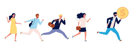 People running to money. Successful businessman with coin, business leader run first. Man woman need job, employee competition or human greed vector. Businessman run for money and profit illustration