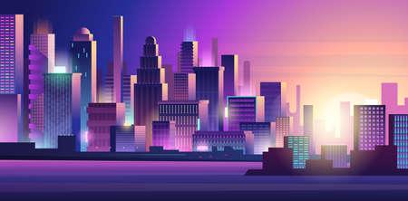 Cyberpunk city. Neon glow lighting urban landscape purple colored dark futuristic town vector background. Cyberpunk building, futuristic cityscape tower illustration Ilustração