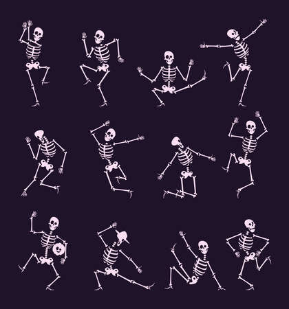 Skeleton party. Undead with skull and bones halloween dancer in funny poses vector characters collection. Skeleton halloween undead, jumping skeletal illustration