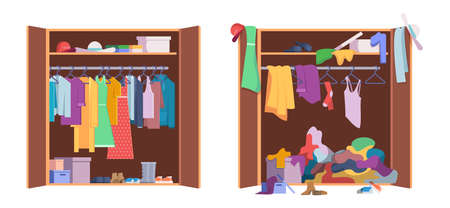 Messy clothes wardrobe. Modern interior storage with opening and closed organized wardrobe vector set. Wardrobe clothes, messy clothing in closet illustration