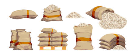 Rice bags. Pile with sackful textile objects grain agricultural collection vector sacks in cartoon style. Rice bag, pile grain agriculture illustration Ilustração