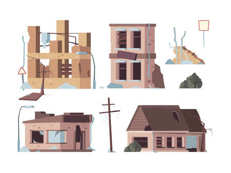 Abandoned houses. Old trouble damaged facade decayed exterior destroyed buildings vector flat pictures. Broken abandoned, damage and destroyed illustration Ilustração