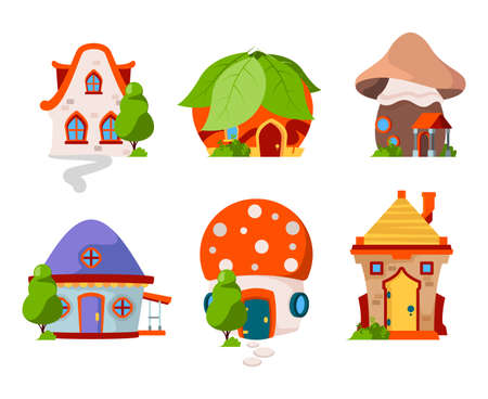 Fairytale castles. Wooden magic buildings fantasy village cottage vector cartoon houses. Illustration building fairytale, magic fantasy house