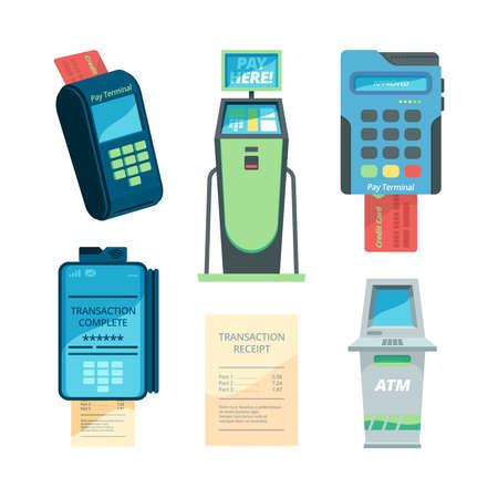 Payment machines. Checkout terminal money nfc modules self servicing automat vector flat collection. Illustration payment terminal collection, electronic transaction Ilustração