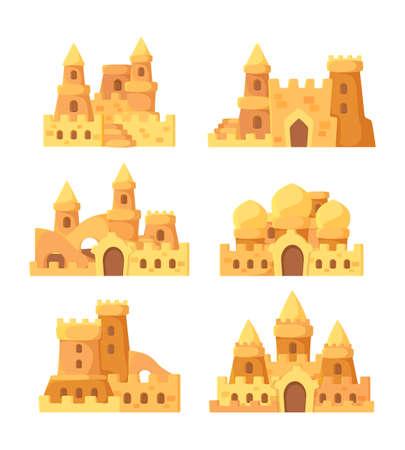 Sandcastles. Fairytale summer buildings on seaside shovel and bucket for sand builders vector set. Illustration tower house fairytale, summertime fortress