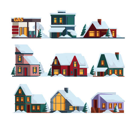 Snow cap house. Winter christmas architecture modern buildings in snowfall vector cottage illustrations. Illustration building winter, house architecture in snow