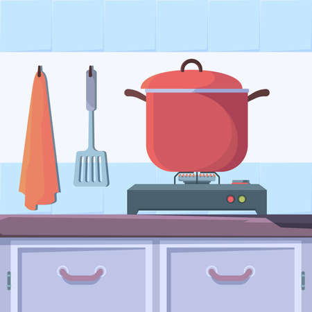 Gas stove food. Kitchen interior with boiling food cooking cuisine vector concept. Kitchen domestic, equipment stove cooking illustration