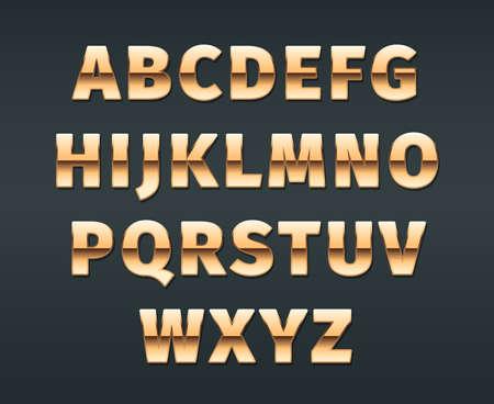 Golden font. Luxury exclusive golden gradient letterings glossy alphabet vector templates for casino. Typography alphabet, type golden exclusive letter illustration Ilustração
