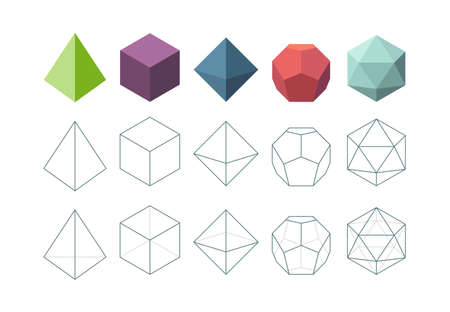 Platonic solid. Geometrical 3d object shapes vector collection. Polygon pyramid form, platonic and polyhedron geometric figures