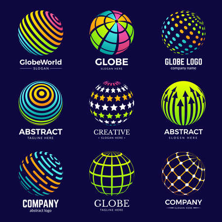 Globe logo. Stylized circle shapes for business identity projects education biology innovation logo templates. Sphere stylized globe logotype for business illustration Ilustração