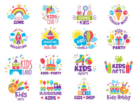 Kids zone badges.  for creative place for childrens playgrounds or toys shop vector symbols. Illustration zone playground and kidzone, cartoon childish area badge