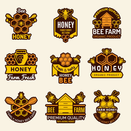 Apiary badges bee signs for organic healthy natural food vector templates. Organic natural food, healthy honeycomb illustration Ilustração