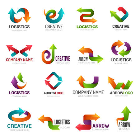 Arrows logotype. Digital web stylized symbols direction abstract arrows for business identity geometrical forms vector. Illustration logo trend pointer, trendy web stylized logotype Ilustração
