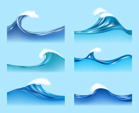 Ocean waves. Water liquid surfaces with transparent foam horizontal waves flow vector illustrations. Illustration sea wave water, aqua splash flowing, ocean surface