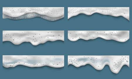 Water foam. Clean washing liquids bath laundry drops splashes on seaside top view vector realistic templates. Shampoo foam, cream soap washing illustration