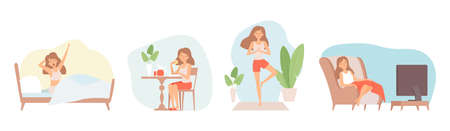 Weekend relax. Stay at home, isolation period. Single woman eat, watch tv doing yoga vector illustration. Relax lifestyle, sitting relaxation weekend