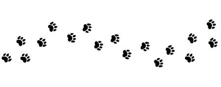 Animal steps trail. Pets foot prints, cat or dog road vector illustration. Foot pet print, animal step footprint trace trail silhouette