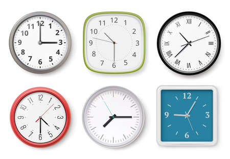 Realistic clocks. Modern wall clocks business chronometer dial arrows light and dark templates. Collection clock office, time watch realistic illustration
