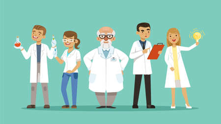 Laboratory team. Team of scientists or doctors, researchers. Cartoon hospital personal, virologists vector illustration. Research team laboratory woman and man, analysis pharmaceutical Ilustração