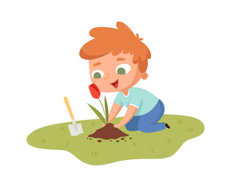 Boy planting tulip. Young guy with garden tool caring flower. Isolated cartoon little male gardening hobbies vector illustration. Hobby gardening at backyard, happy child