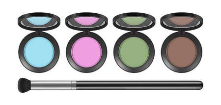 Eyeshadow palette. Realistic decorative cosmetics and brush, isolated eye shadows vector set. Illustration makeup beauty, powder female palette Vektorgrafik