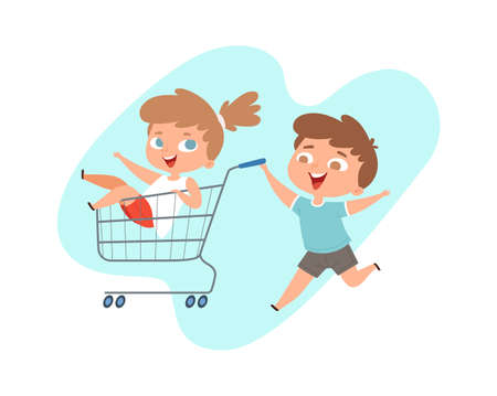 Children ride in grocery cart. Happy brother and sister play in shop or supermarket, cartoon happy children characters. Kids bad behavior or manners, baby pranks vector illustration