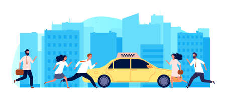 People need taxi. One yellow car and many men women. Business persons run to auto vector illustration, People try run and catch taxi