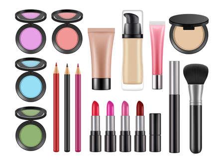 Realistic decorative cosmetics. Lipstick, blush concealer pencils isolated vector set. Makeup cosmetic, product foundation for woman illustration Ilustração