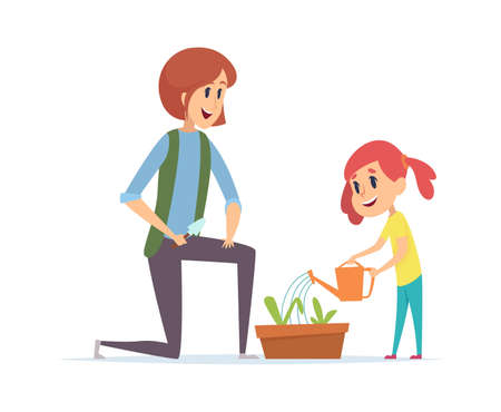 Gardening time. Woman girl planting grass and watering with water can. Little baby and mother working in garden vector illustration. Mother and daughter plants green flower Ilustração