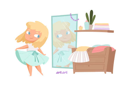 Girl trying on dress. Little child looks in mirror, baby changes clothes. Cartoon isolated fashion female vector illustration. Blonde teen look at mirror, morning clothing decision Ilustração