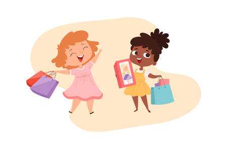 Girls with gifts. Happy little princesses with boxes and bags. Cute cartoon afro american baby shopping character. International friendship, kids friends vector illustration. Happy child girls shopper