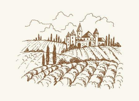 Italian vineyard landscape. Sketch of vintage medieval house and garden, trees or vine plantation. Rustic suburb, hand drawn village vector illustration. Italian countryside farm, landscape nature