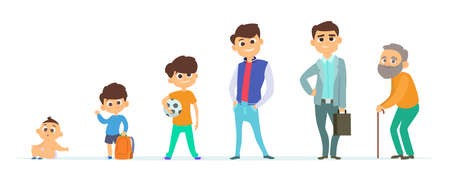 Man life cycle. Boy, teen, adult male and senior person characters. Isolated cartoon guys different ages vector set. Man and boy infant, human evolution illustration