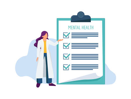 Psychotherapist with check list. Mental health examination, doctor and treatment document vector illustration. Medical mental record clipboard