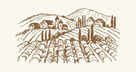Sketch village landscape. Vintage vineyard farm, hand drawn agricultural plantation with rustic houses. Cute cozy suburb vector illustration. Plantation suburb, agricultural landscape