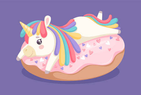 Unicorn on donut. Sweet dessert, cafe bar coffee shop or bakery poster. Baby print with fantastic animal and cake vector illustration. Magic fantasy horse character and cream donut Ilustração