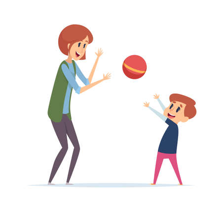 Woman play with boy. Outdoor active games with ball, nanny or mother and son spend time together. Happy cartoon players vector illustration. Mother and boy play with ball, woman and kid activity