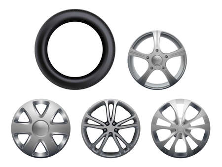Car rims. Realistic wheels vehicle tyres collection vector closeup pictures set isolated. Rubber and rim for wheel transportation or repair car Vettoriali