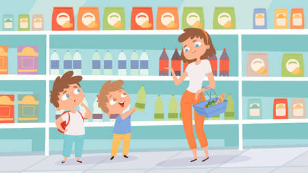 Family in grocery store. Mother son shopping in supermarket. Children choose drinks vector illustration. Supermarket interior and family with children 向量圖像