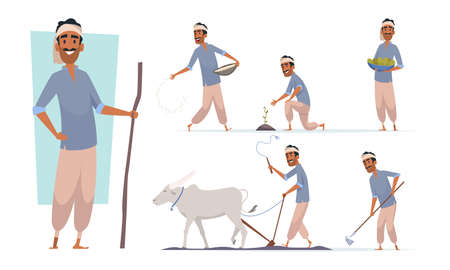 Indian farmer. India village cheering characters working with cow harvesting bangladesh people vector. Illustration india farmer farming agriculture and collect plant Vecteurs
