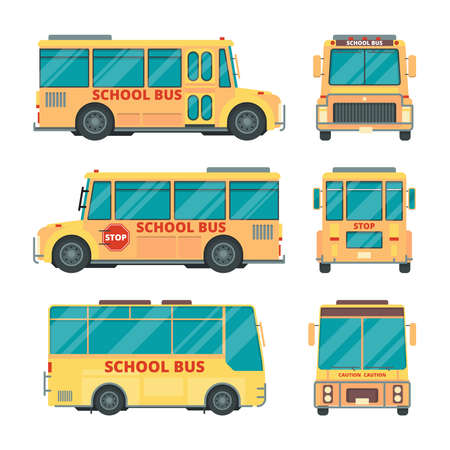 School bus. City yellow vehicle for kids daily transportation childrens vector urban transport various views. Bus vehicle yellow, school automobile illustration Ilustracja