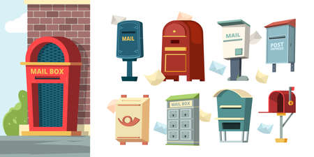 Postal containers. Mailboxes with letters envelope vector pictures. Mailbox post, delivery letter, postal container illustration