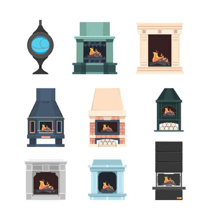 Fireplace. Interior decor electric fireplace from bricks beautiful flame in house relax place vector set. Illustration fireplace electric and burn firewood for interior