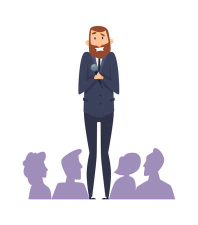 Public speaking fear. Man with microphone in front of audience. Frightened male with phobia speaks from stage vector illustration. Public speech at audience, anxiety and glossophobia
