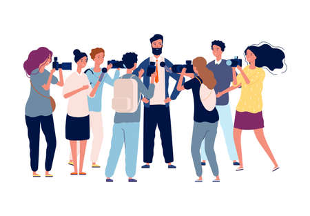 Political interview. Businessman talk with crowd journalists, photographers and popular person. Public relations manager or politician vector illustration. Journalist interview businessman 向量圖像