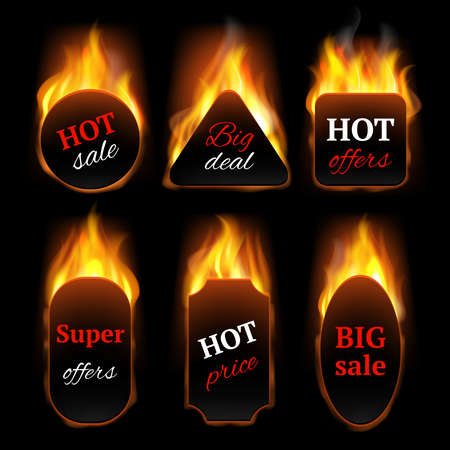 Hot special offers. Promo banners with fire flame vector realistic templates. Illustration hot offer and fire sale, flame discount, advertising clearance black promo sale