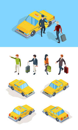 Taxi service. Travellers passengers call taxi with luxury driver professional chauffeurs yellow isometric cars vector pictures. Taxi driver and passenger, yellow car transport service illustration Ilustración de vector