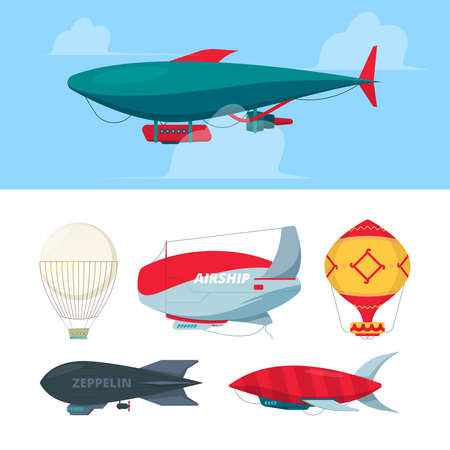 Airship. Flying balloons dirigible zeppelin for travellers freedom symbols air transport vector illustrations. Air dirigible and balloon, airship in sky, aircraft flying