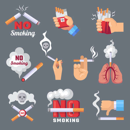 Smoke icon. Lungs and cigarette inhalation smoke problem and dangerous vector flat concept pictures. Ban smoke cigarette, smoking addiction tobacco